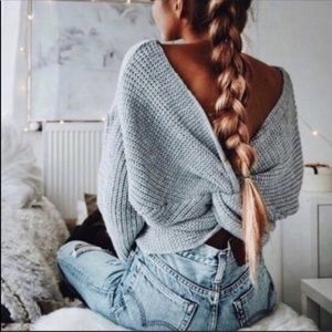 Vici Twisted Back Knot Sweater